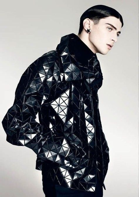 Geometric Jacket // Issey Miyake / Model: Matthew Bell, photo: Brendan Freeman, for Volt