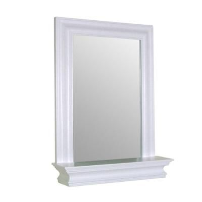 Website With Photo Gallery Buy Framed Bathroom Mirror Rectangular Shape w Bottom Shelf in White Wood Finish Free Shipping at OliveTree Home for only Frame bathroom mirrors