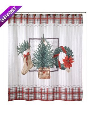 Avanti Farmhouse Holiday Shower Curtain Christmas Shower