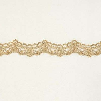 Bridal wedding Lace Trim wedding fabric Millinery accent motif scrapbooking crafts lace for baby headband hair accessories dress bridal accessories by Annielov trim #141 Gold Metallic Lace trim by the yard