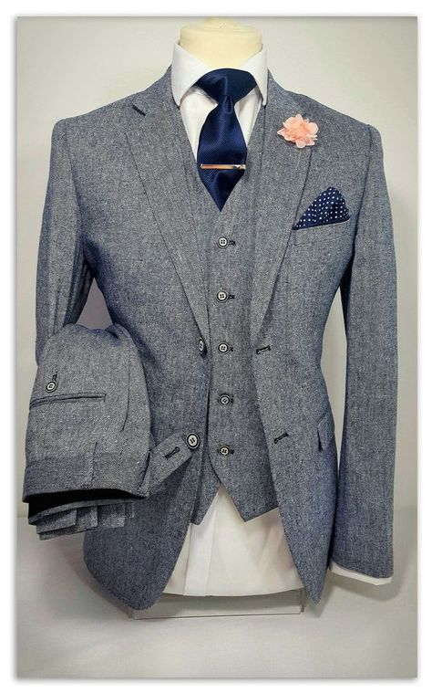 MENS GREY 3 PIECE TWEED SUIT WEDDING PARTY PROM TAILORED SMART in Clothes, Shoes & Accessories, Men's Clothing, Suits & Tailoring   eBay