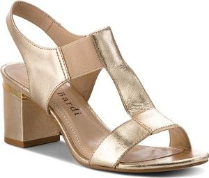 Zlote Sandaly Sergio Bardi Na Obcasie Na Srednim Obcasie Ze Skory Ekologicznej Shoes Sandals Fashion