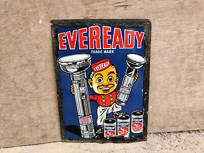 1940s Vintage Enamel Sign Board Eveready Flash Light Batteries Advertisement In 2020 Advertising Collectibles Flashlight Signboard