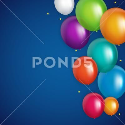 Color Glossy Happy Birthday Balloons Banner Background Vector Illustration Stock Illust Happy Birthday Balloon Banner Happy Birthday Balloons Birthday Balloons