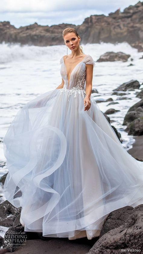 ari villoso 2020 bridal cap sleeves plunging v neckline beaded ruched bodice a line ball gown wedding dress (17) princess romantic blue color chapel train mv -- Ari Villoso 2020 Wedding Dresses | Wedding Inspirasi #wedding #weddings #bridal #weddingdress #weddingdresses #bride #fashion  ~
