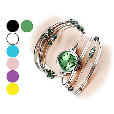 prata relógio feminino com pulseira de miçangas – EUR € 6.71