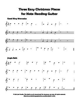 Three Easy Christmas Pieces for Note Reading Guitar (sheet