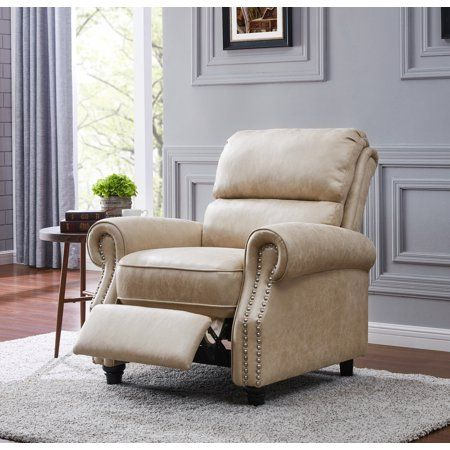 Homesvale Cari Faux Leather Push Back Recliner Chair Tan Walmart Com Recliner Chair Recliner Master Bedrooms Decor