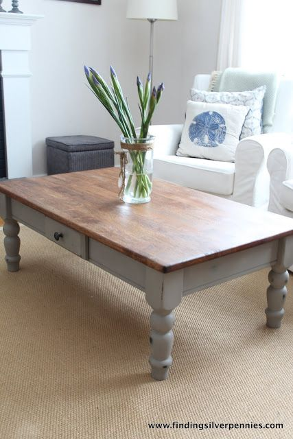 Silver Pennies: French Linen Coffee Table (beautiful table done with Annie Sloan Chalk Paint in French Linen. The perfect match to this color in a latex paint is Beige Shadow from Lowes Waverly Home Classics section. Mix the latex paint with Webster's Chalk Paint Powder for a cheaper alternative to the gorgeous ASCP. http://www.beneathmyheart.net/2013/01/the-perfect-latex-paint-color-match-to-annie-sloans-french-linen-chalk-paint/ )