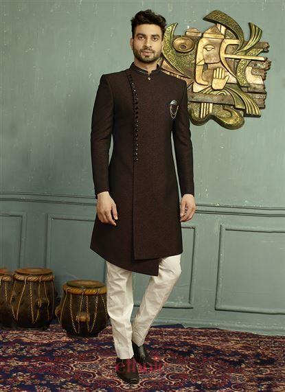 Brown Jacquard Zari Work Party Wear Designer Mens Sherwani 598
