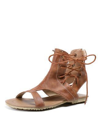 VERYVOGA Frauen Sandalen Flache Schuhe Peep Toe Slingpumps