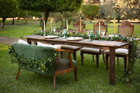 Elegant outdoor wedding decor / floral: Taylormade Wedding & Event Flowers / rentals: WISH Vintage Rentals and Dishie Rentals / photo: stephanieasmith.com