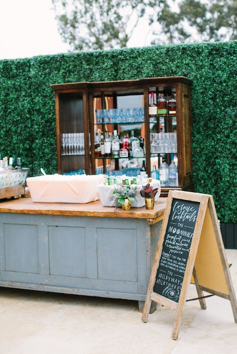 I like the antique aspect of the old cabinet as the back bar Bar Hutch, Homemade Wedding Favors, Portable Bar, Pop Up Bar, Champagne Bar, Vintage Bar, Bar Drinks, Bar Mitzvah, Event Decor