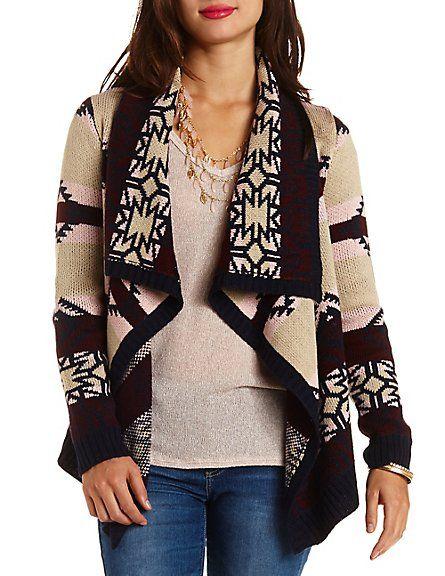 Aztec-Striped Cascade Cardigan Sweater - http://AmericasMall.com ...