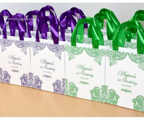 30 Birthday Party Bags With Purple Satin Ribbon Handles Elegant Personalized 1st Gift