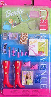 Amazon.com: Barbie FASHION AVENUE ACCESSORIES w Boots, Shoes, Purses, Cosmetics & MORE! (2000): Toys & Games