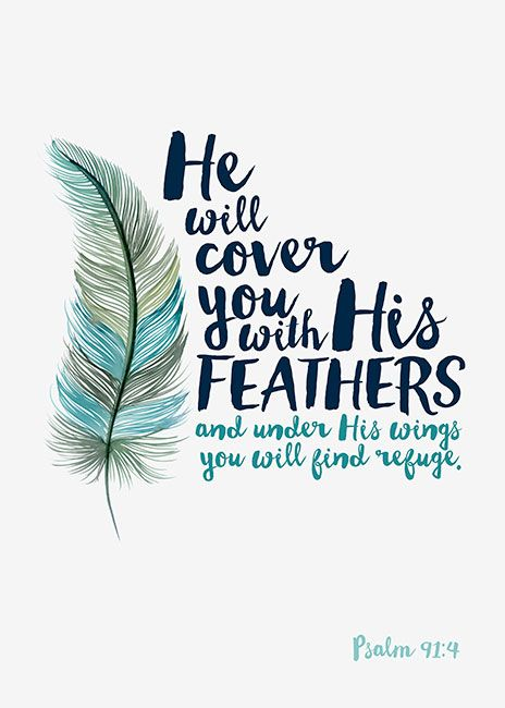 Margaret Berg Art: He Will Cover You Feather