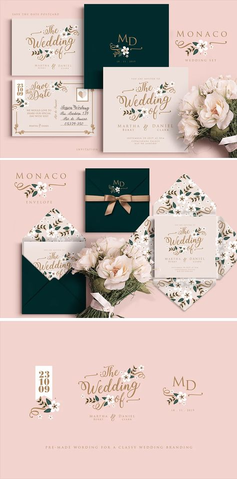 Monaco Wedding Set Template AI, PSD