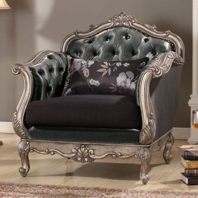 Benzara Royal Accent Chair With Pillow Furniture Elegant Living