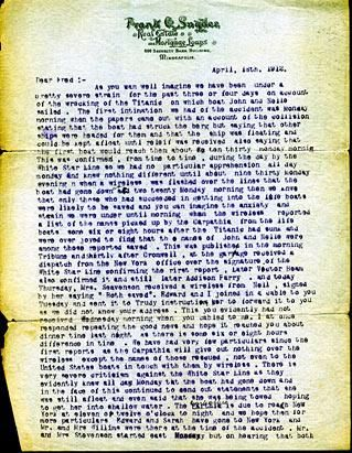 This typed letter, dated April 18, 1912, is from John Snyder\u0027s