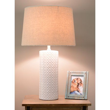 Mainstays White Ceramic Lamp Base With Bulb Included Shade Not Included Walmart Com White Ceramic Lamps Ceramic Lamp Ceramic Lamp Base