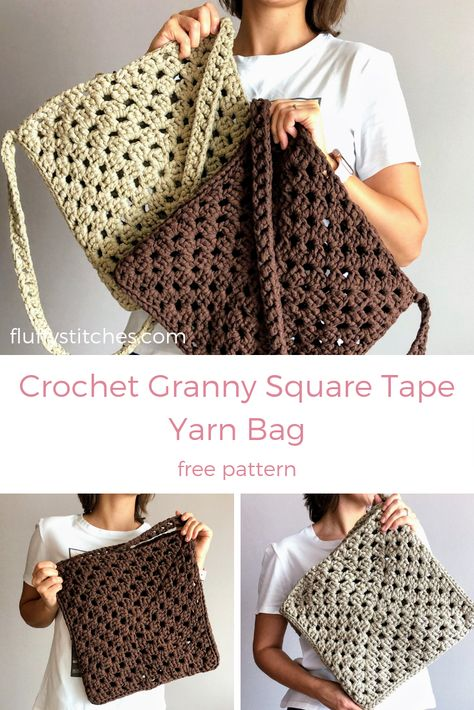 Because sometimes you need your favorite bag in different materials, here is the Crochet Granny Square Tape Yarn bag. Fun and super quick pattern, you'll have these out of your hook in no time! Crochet Diy, Crochet Bag Tutorials, Crochet Purse Patterns, Crochet Tote, Crochet Handbags, Crochet Purses, Crochet Crafts, Crochet Stitches, Afghan Patterns