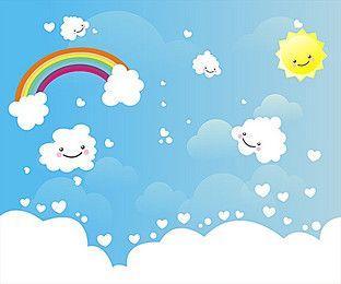 Cute Cartoon Clouds Sun Background Poster Cartoon Clouds Rainbow Background Cute Backgrounds