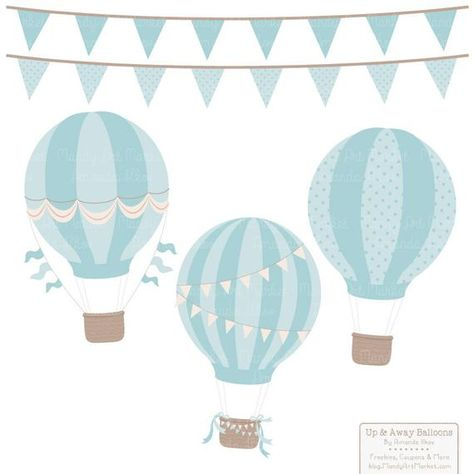 Vintage Boy Hot Air Balloons Clipart with Digital Papers | Etsy