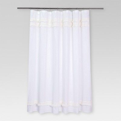 Macrame Fringe Shower Curtain Cream Threshold Cream Curtains