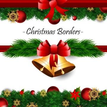 Christmas Border With Red Ribbon And Bells, Christmas, Card