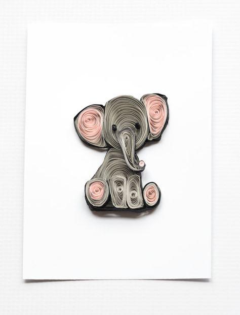 Art mural éléphant pépinière Art Print - décor de chambre de bébé - enfants - Art - éléphant Art mural éléphant L'éléphant dans cet art mural est entièrement fait de papier. Petites bandes de papier sont soigneusement roulées à la main et collés ensemble pour créer ce beau travail.