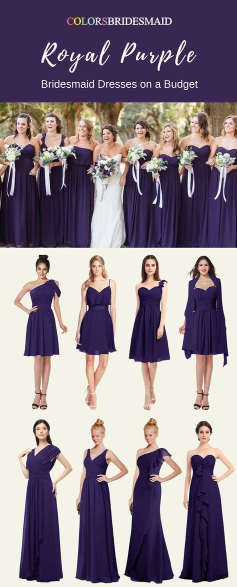 Stunning Royal Purple Color Bridesmaid Dresses For A Fall Wedding