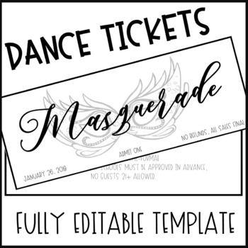 Masquerade Dance Ticket Template Ticket Template Templates Dance