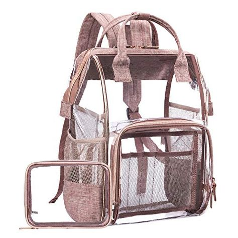 aa8673390c9b Great for LOKASS Large Clear Backpack Transparent PVC Multi-Pockets School  Backpacks Outdoor Backpack Fit 15.6 Inch Laptop Safety Travel Rucksack with  Rose ...