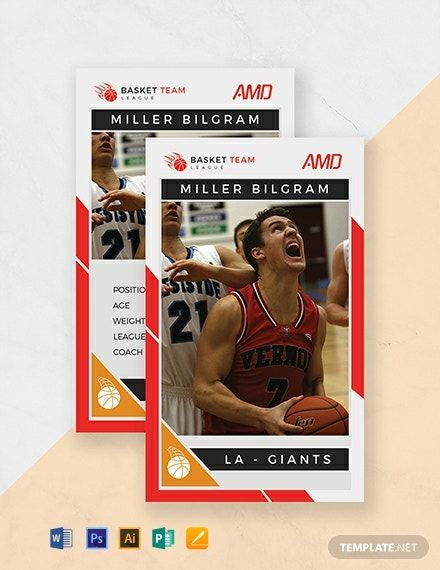 Instantly Download Free Basketball Team Trading Card Template Sample Example In Microsoft Word Trading Card Template Card Templates Football Trading Cards