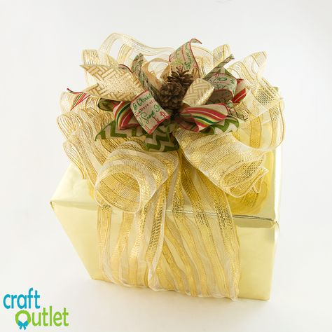 Decorating a Present with Deco Mesh and Ribbons | CraftOutlet.com Blog