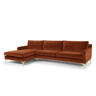 Willa Arlo Interiors Danyel Sectional Orientation Right Hand Facing Upholstery Rust Velvet Furniture Sectional Cheap Couch