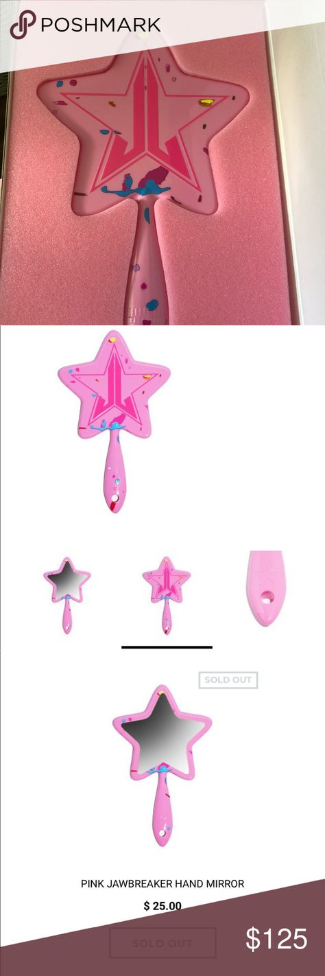 """Pink jawbreaker Jeffree Star hand Mirror ⭐️ These Pink Jawbreaker Hand Mirrors are the perfect accessory for any Jeffree Star Cosmetics fan! Whether for yourself or for someone just starting to fall in love with makeup, get this one-of-a-kind piece! Custom Shaped Injection Mold Ultrasonic Welding on the sides for durability Balanced weight mid- handle for your comfort and to battle fatigue Custom packaging made to ensure safety and integrity 11.5"""" Handle to Tip  Bought from beautylish, all sold"""