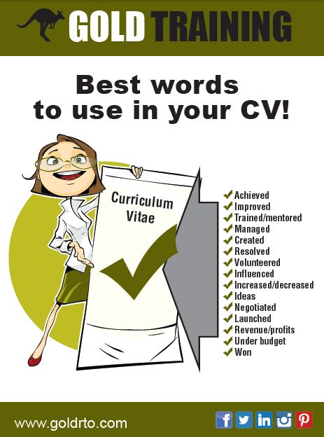 Best Words To Use In Your CV! Wwwgoldrto Handy Résumé Tips   Cv Words  Best Words To Use In A Resume