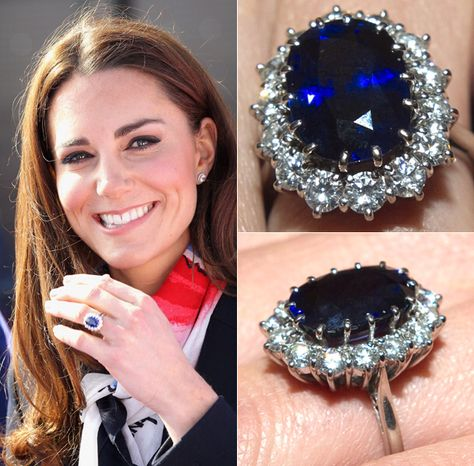 The Duchess of Cambridge's engagement ring, which belonged to Prince William's late mother Princess Diana, was valued at £28,000 when Prince Charles proposed to her with it. Now valued at £300,000   It has 14 solitaire diamonds surrounding a 12-carat oval blue Ceylon sapphire, set in white gold.