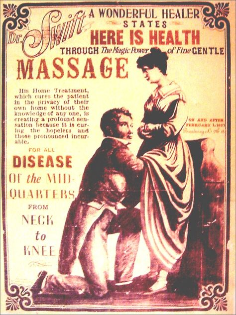 A little massage to help with those hysterical paroxysms. Victorian era.