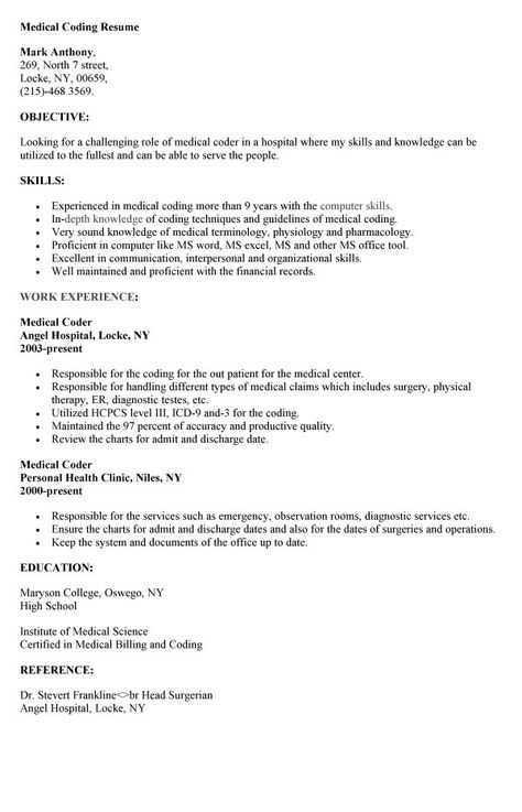 Medical Coding Resume  HttpResumesdesignComMedicalCoding
