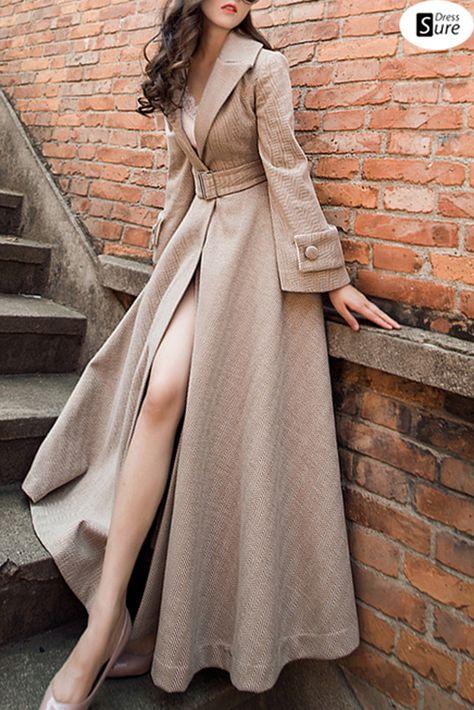 Suave Lapel Collar Flare Sleeve Pocket Coat Dress US$ 114.49