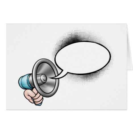 Cartoon Speech Bubble Megaphone CardWhen you hear something