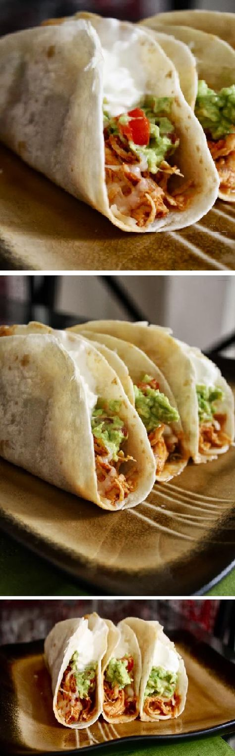 Crockpot Chicken Tacos. I love this recipe! Let the Crockpot do all the work and don't have to heat up the kitchen. It's hot hot here in Florida!