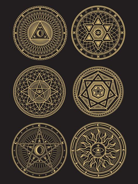 Golden occult, mystic, spiritual, esoteric vector symbols By Microvector   TheHungryJPEG.com