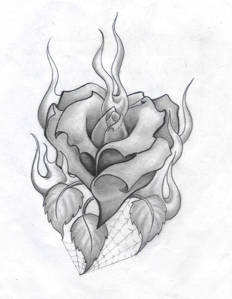 Burning+Rose+Heart+by+ratdaddytattoo.deviantart.com