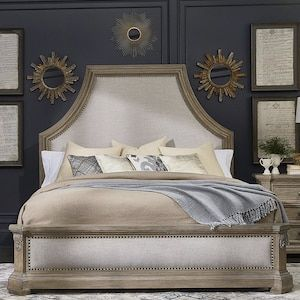Cherry- this bed is amazing!  Would look good with the shape of that wall your bed will be on. Arch Salvage King Bed in Parch   Nebraska Furniture Mart