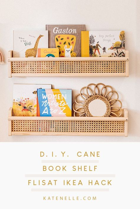 a cane book shelf using the FLISAT wall shelf from IKEA for this easy IKEA hack for your little kid's room. Montessori Ikea, Cane Shelf, Ikea Book, Billy Ikea, Big Girl Rooms, Kids Rooms, Room Kids, Bookshelves, Billy Bookcases