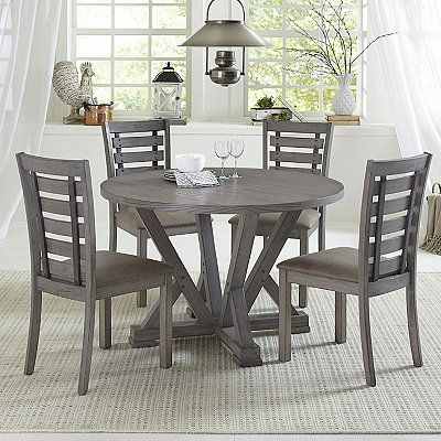 Gray Wooden Fiji Round Dining Table Round Dining Table Sets Round Dining Table Solid Wood Dining Set
